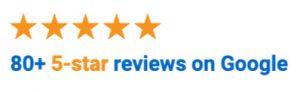80 5-star reviews on Google